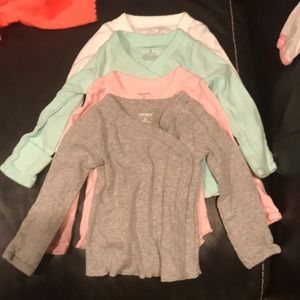 Carters shirts size 3 mo multiple colors